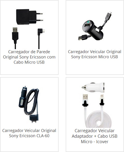 Carregador Sony Ericsson de Parede